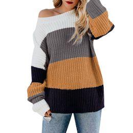 Maglioni dalle spalle delle donne online-Womens Off The Shoulder Maglione Casual scollo a V acrilico lavorato a maglia manica lunga sciolto Pullover Spessore Standard Femminile 2019 10Jan 16