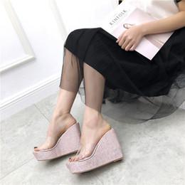 f4b279c0 Sandalias de verano Zapatos Claros Mujer Chanclas Moda Bling Cuñas  Sandalias Tacones Plataforma Transparente Zapatillas 4489
