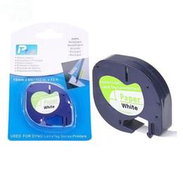 2019 formatador hp 200 pcs Compatível DYMO Letratag etiqueta fita 12mm preto no branco Letra tag 91200