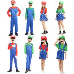 trajes da família Desconto Terno New Super Mario Cosplay Costumes Crianças Funy Luigi Bros Plumber Purim festa de Natal dos desenhos animados bola Fancy Dress Família