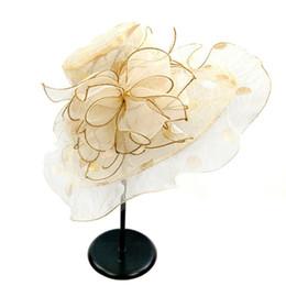 Cappello da sposa estivo online-Fashion Summer Anti-UV Casual Primavera Tesa larga Donna Cappelli Ruffles Regalo da sposa Cap pieghevole Beach Girl