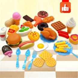 Cachorros de brinquedo de plástico para crianças on-line-Brincar de plástico Brinquedos Alimentares Mini Hamburg Fries Hot Dog Sorvete Cola Comida Brinquedo para Crianças Fingir Presente Do Jogo para As Crianças