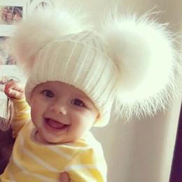 Çocuklar Çift Iki Gerçek Kürk Ponpon Şapka Gerçek Kürk Pom Pom Şapka Bebek Kış Tığ Kız Erkek Örme Beanie Kaput Çocuk Q4 nereden