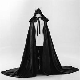 Envoltório de veludo preto on-line-Gótico preta com capuz Velvet Cloak casamento Capes Wraps longa Bride Jacket para festa de Natal Halloween Stage fotografia de estúdio desempenho