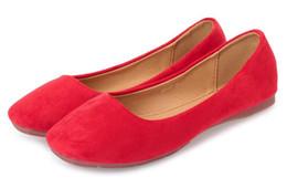 nuovo stile scarpe piatte in pelle scamosciata piazza testa rosso scarpe da donna pendolari semplici scarpe da sposa piatto modello N 31-42 taglia 36-40 da
