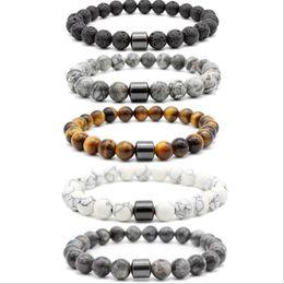 chakra presentes por atacado Desconto 8 milímetros Natural pedra de lava de pedra olho de tigre turquesa Beads hematita pulseira DIY Glamour Jóias Bracelet para as Mulheres Homens Bracelet