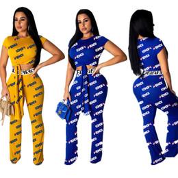 Calças de bandagem on-line-Mulheres F Carta Completa de Impressão de Verão 2 Peças Outfits Curativo Bandage T-shirt T-Shirt + Calças Casual Set Treino Calças de Jogger A42605