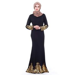 estilo muçulmano vestido de festa Desconto 2019 Vestido de Festa das Mulheres Muçulmanas estilo Islâmico árabe Dourado Vestes Árabes New Slim Vestidos Muçulmanos