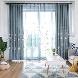 Tessuto di lino blu online-Tende da finestra stile kapok con ricamo floreale pastorale per soggiorno camera da letto Tessuti di lino in cotone con lavorazione personalizzata Tulle