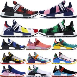 Schwarze krawatte mode online-2020 Inspiration Pack schwarz NMD HUMAN RACE Pharrell Williams Männer Frauen Tie Dye Solar-Pack-Mutter Designer Fashion Sportschuhe 36-45