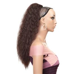 clips africanos grátis Desconto Nova Moda Multicolor Feminino Chemical fibra macia de cabelo longo encaracolado 24 polegadas de alta temperatura Silk rabo de cavalo