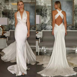 2019 Beach Mermaid Wedding Dresses Sexy Simple Cross Belt Open Back Casual Deep V Neck Ruched Sleeveless Bridal Gown With Sweep Train Cheap