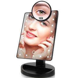 folhas de plástico redondas Desconto 22 Luzes LED Touch Screen Espelho de Maquiagem Descontado Preço 1X 10X USB Ajustável Brilhante Ou Baterias Use 16 Luzes