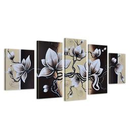 Art de toile de tulipe en Ligne-Art floral rustique, fleurs de tulipes noires et blanches, photo peinte à la main, peintures à l'huile de fleurs modernes sur toile, art mural 5 pièces