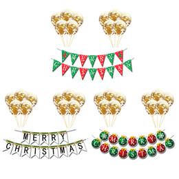 2019 enfeites de natal de 12 polegadas 1 conjunto Feliz Natal Papel Puxar Bandeiras Pingente de 12 polegadas enfeites de balão de lantejoulas Banner Layout Cena Guirlandas Decoração de Natal enfeites de natal de 12 polegadas barato