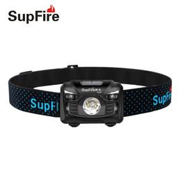 Luzes led cree on-line-Farol recarregável de SupFire, 500 Lumens branco Cree LED lâmpada de cabeça com luz vermelha e interruptor de Sensor de movimento, perfeito para correr, caminhadas