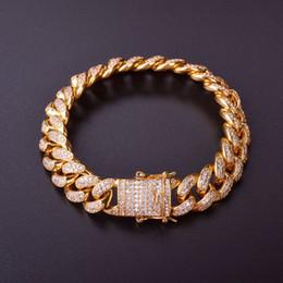 2019 braccialetto d'argento 925 spessore 12mm 7 pollici 8 pollici braccialetto di collegamento cubo miami 9 pollici Uomini spessore materiale pesante di rame Oro Bracciali catena d'argento Rosegold CZ sconti braccialetto d'argento 925 spessore