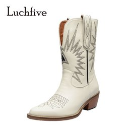 zapatos cowboy Promo Codes - INS Fashion Western Sewing Cowboy Boots V-shape Slip on White Leather Boots Zapatos Mujer
