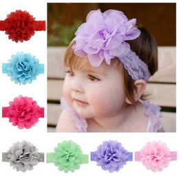 2020 cintas elásticas de encaje Baby Lace Flower Headbands Silk Flower Elegant Elastic Hairbands Baby Kids Headdress Hair Accessories 14 Style HHA785 cintas elásticas de encaje baratos