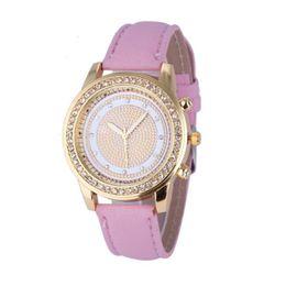 Женские кожаные наручные часы онлайн-Women's Geneva Fashion Watches Leather Analog Ladies Clock Stainless Steel Quartz Wrist WatchF3