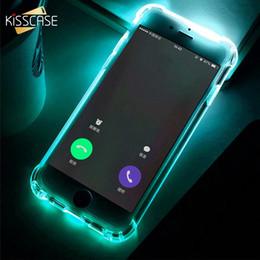 capa leve conduzida piscando do iphone Desconto Kisscase chamada led light case para iphone 5 5s se 6 6 s flash capa de silicone para iphone 6 6s 7x8 plus anti-knock voltar macio fundas