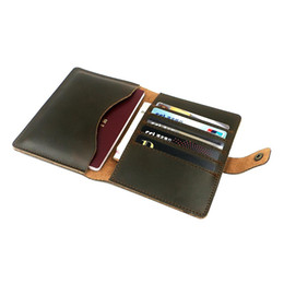 Porte billets passeport en Ligne-Zolanc Vintage Design Hasp Crazy Horse Porte-passeport en cuir Porte-billets Voyage Porte-cartes Billet pour homme