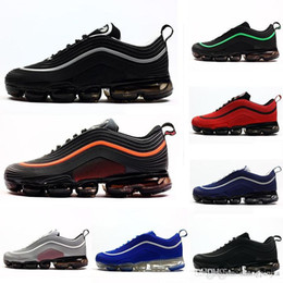 Zapatos de goma en ejecución online-2018 Nuevo 97 Kpu OG 97s Triple Negro Blanco Verde Metálico Plata Rojo Caucho para hombre Zapatillas Zapatillas de deporte Tamaño 7-12