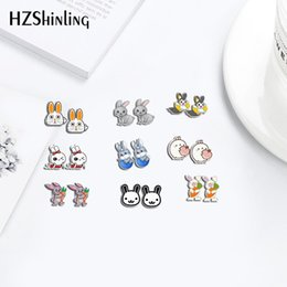 bunny earrings Coupons - 2020 New Fashion Earrings Rabbits Bunny Cartoon Acrylic Earrings Shrinky Dinks Earrings Resin Jewelry Epoxy