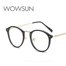 wholesale reading sunglasses Promo Codes - WOWSUN Retro Oval Sunglasses Female Brand Reading Glasses Clear Female Male PC Frame UV400 A792