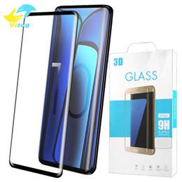 Samsung s6 curva online-Para Samsung galaxy S6 edge más S7 Edge S8 S9 S10 plus Note 9 Protector de pantalla de cristal templado de cubierta completa de lado curvo con paquete al por menor