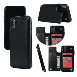 cartão de titular caso atacado Desconto Atacado retro pu leather case para iphone 8 7x6 6 s plus xs max xr slot para cartão titular capa para samsung s8 s9 plus nota 8 9
