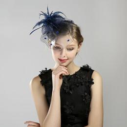 chapéus de vestido formal para mulheres Desconto Venda quente Chapéu Formal Hat Feather Banquete Headwear Acessórios Vestido Completo Acessórios Para o Cabelo das Mulheres Véu Rosto