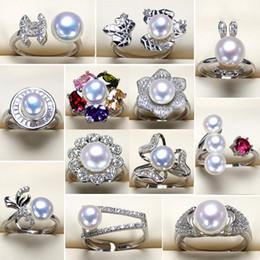 2019 anillo de diamantes de cristal swarovski 18k 6-8mm Alto Lustre S925 Anillo de Perlas de Plata Anillo de Joyería de Las Mujeres Para Las Mujeres Chica Tamaño Ajustable Anillos de Perlas Naturales Joyería de Moda
