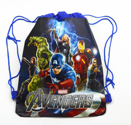 borse a tracolla extra grandi Sconti 12pcs Cartoon Drawstring Bag Per Boy Avengers, Batman Backpack Bambini Loro Bomboniere, regali Y19061301