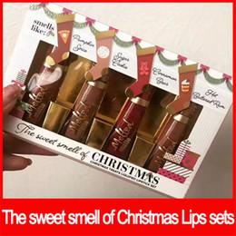 Рождественские угощения онлайн-2018 сталкиваются губы макияж набор сладкий запах Рождества лечит сжиженной помады набор расплавленный матовая помада набор бесплатная доставка