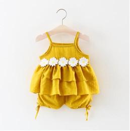 Argentina Venta caliente Desgaste de los niños 2019 Verano de Comercio Exterior Vestidos de las niñas Sling coreano Tops Shorts Dos conjuntos de ropa de bebé Suministro
