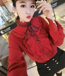 2019 blusa de colar de babados mais tamanho 2018 Primavera plus size Manga Comprida Ruffled Collar Babados Chiffon Camisas Mulheres Elegantes Babados Whtie Chiffon Blusas Mulheres Tops blusa de colar de babados mais tamanho barato