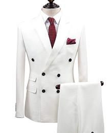 2 pièces Wgite Costume solide 2 pièces Costume Slim Fit Encolure Revers Un Bouton Tuxedo Jacket Pants Set Hommes Costumes Groom (Blazer + Pantalon) ? partir de fabricateur
