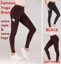 Leggings brand new online-Nuevo Lu Designer Brand Leggings Mujeres de marque Lady lu Gym Pantalones Sexy Sports Running Joggings Pedal Pantalones Fitness Yoga Same Fiber
