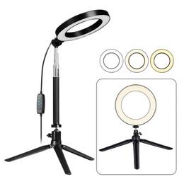 Stand di bastoni selfie online-LED Ring Light con treppiede estensibile Selfie Stick, 6 pollici Dimmable Floor / Table Lampada anulare per selfie, trucco, Live Stream