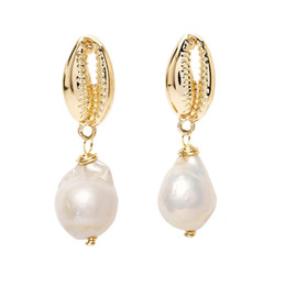 Conchas de mar perlas online-Pendientes de concha Pendientes de perlas Pendientes de playa Pendientes de mar Joyas para regalos
