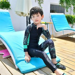 traje de baño de cuerpo completo Rebajas Nuevo 2019 Niñas / Niños Playa Protección UV Camisas de baño Protección para niños Traje de baño de cuerpo completo Niños Traje de baño de manga larga Unisex