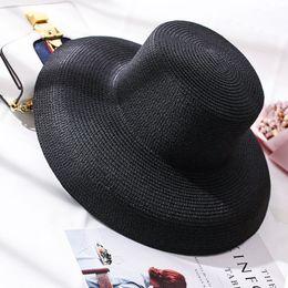 Chapéus de palha brancos para meninas on-line-2019 Novos Chapéus de Sol para As Mulheres Chapéu de Praia Pala de Sol Meninas Chapéus de Verão Panamá Preto Dobrável Branco Floppy Bucket cap Senhoras Chapéu de Palha