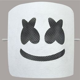 figurinos de moda engraçados Desconto DJ Marshmallow Marshmello Banda Máscara Sorrindo Rosto Cor Branca Máscaras Do Partido Engraçado Festival de Moda Traje Acessório 6 9ts E1
