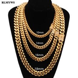 Los hombres de la cadena de hip hop collar de moda de acero inoxidable 8-18 mm de ancho / 18-30 pulgadas de largo collar de cadenas cubanas de Miami joyería masculina Hiphop desde fabricantes