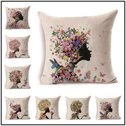 textile butterflies Promo Codes - Nordic Linen Pillow Case Fashion Printing Bird Butterfly Cushion Cover Home Textiles Sofa Decor High Quality 7 5xl Ww