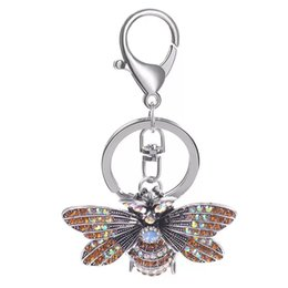 bee key Promo Codes - New creative crystal bee keychain Cute cartoon car key ring Female bag pendant accessories Personalized insect jewelry gift