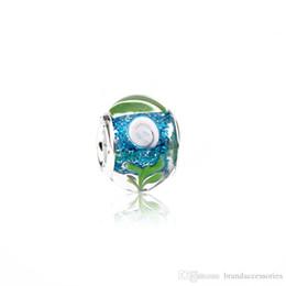Billig 925 silber armband online-Günstige Murano Loch Perlen 925 Silber Gewinde Multicolor Lampwork Glas Charms Pandora Armbänder Halskette Schmuck Zubehör PDZ14