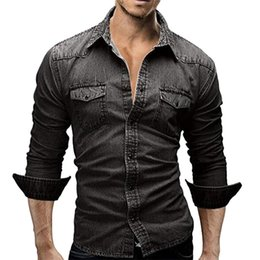 3cb04a40140 SHUJIN Brand Men Shirt Autumn Vintage Long Sleeve Male Denim Shirt Fashion  Solid Slim Fit Mens Dress Shirts Plus Size Clothing
