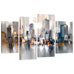 paesaggistica new york Sconti Abstract Canvas Painting New York Paesaggio pittoresco della città Immagine stampata su tela Giclee Artwork Wall Art per la decorazione domestica